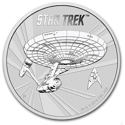TUVALU 1 Dollar Argent 1 Once Star Trek  2016 - 1 Oz silver coin