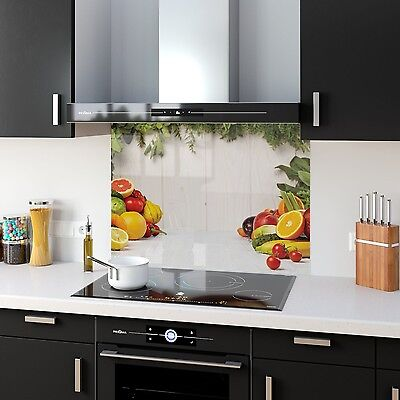Kitchen Splashback Toughened Glass Heat Resistant Fruits Veg 36906041 90x65cm