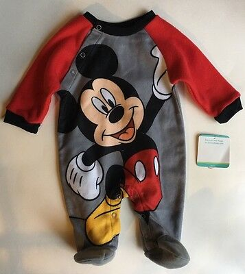Disney Mickey Mouse Pajamas Baby Boy 0-3 Months Footed Sleeper PJ New