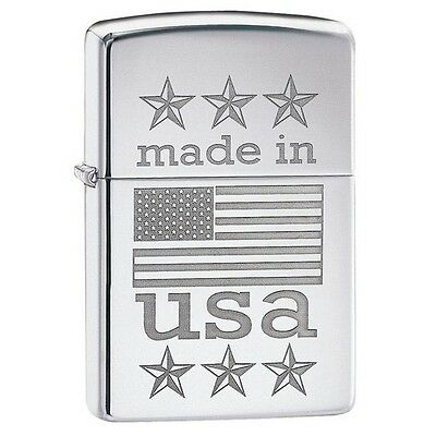 Zippo 29430 Made in USA Flag High Polish Chrome Finish Full Size Lighter