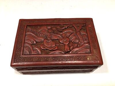 "Vintage Chinese Cinnabar Rectangular Small Box 4""L"