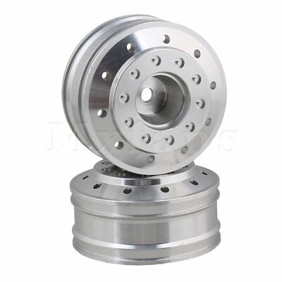 Mxfans RC1:14 Alloy Front Wheel Rims 50010 for TAMIYA Set of 2 Silver