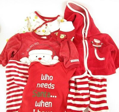 Baby's First Christmas Outfits Sleeper Set Pooh Santa 0-3 Months Lot of 6