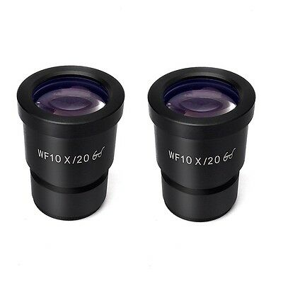 A Pair WF10X/20 Eyepiece for Stereo Microscope High Eye-point Mount 30mm 30.5mm