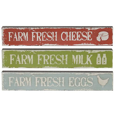 SET OF 3 MINI Rustic FARM FRESH Country Cottage Sign EGGS,MILK,CHEESE