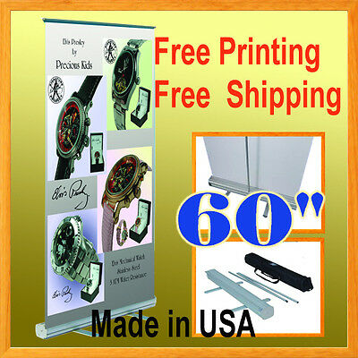 "60"" Wide Retractable Roll Up Banner Stand Trade Show Pop FREE GRAPHIC PRINTIN"