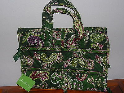 Vera Bradly Chelsea Green Pattern Cosmetic Case Lingerie Pouch Bag