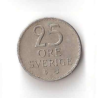 1970 Swedish 25 Ore Coin Sweden