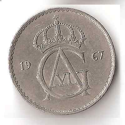 1967 Swedish 50 Ore Coin Sweden 9.7.16