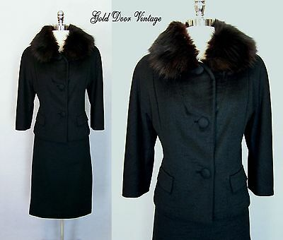 Gorgeous Vintage 50s LILLI ANN Black FOX FUR Trim Cocktail Party Suit S