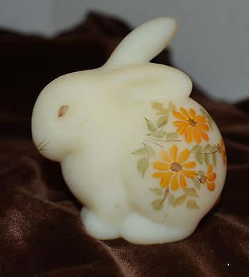 Frosted Milk Glass Hand Painted Bunny Rabbit Paper Weight Figurine