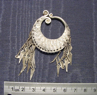 fine antique Silver Earrings  Hill Tribes of Siam or Thailand about 1900 AD