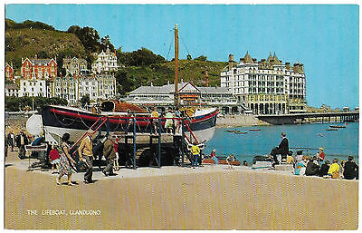 Vintage Postcard.  The Lifeboat, Llandudno.  Unused.   Ref:73342