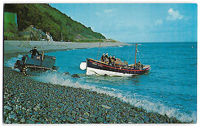 Vintage Postcard.  Launching - Minehead Lifeboat.  Unused.  Ref:73353