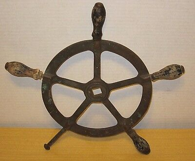 Antique Solid Brass Wood Boat Ship Yacht Helm Steering Wheel Nautical Wall Decor