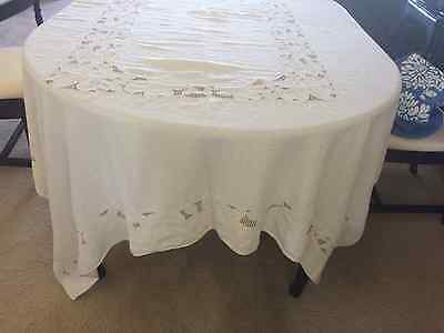 Vintage White cotton hand embroidered table cloth 68 x 96 White with brown check