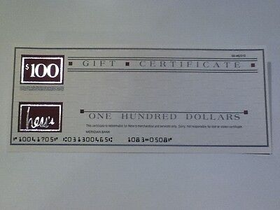 Hess's Department Store Vintage $100 gift certificate never issued VERY COOL!