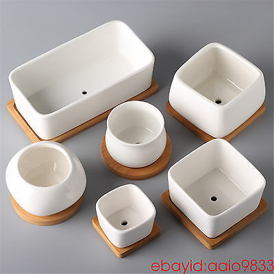 succulent planter pots fashion ceramic flower pot with wooden tray nursery pots