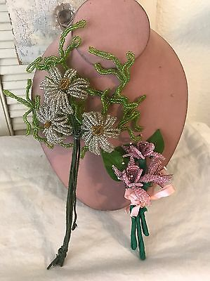 2 Clusters Vintage French Beaded Flowers! Daisies And Pink Flowers Millinery