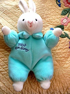 """Just Friends Blue & White Plush """"Baby's First Bunny"""" Stuffed Animal Toy 12"""" EUC"""
