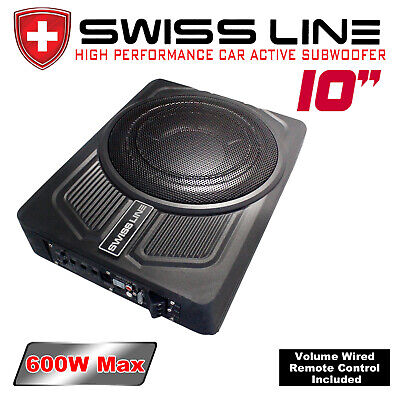 "NEW SWISS LINE 10""(25cm) Car UnderSeat Slim Active Subwoofer 600W"