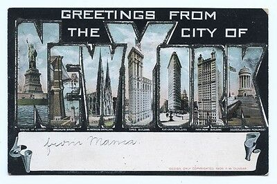 Vintage Postcard.....Greetings From The City Of New York....1906