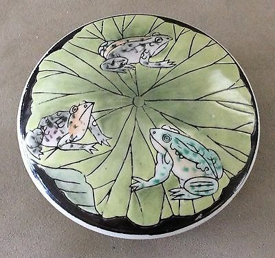 Chinese Asian Oriental Vintage Celadon Hand Painted Porcelain FROG Box
