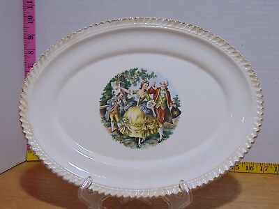 "The Harker Pottery Co 22KT Courting Couples Oval Serving Platter 12"" x 9"""
