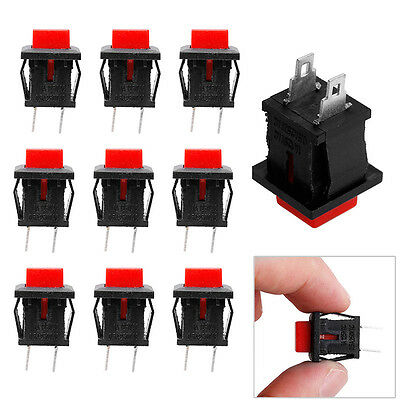 10Pcs Square SPST NonLocking Reset/Self-locking Push Button Switch 1A 125VAC Red