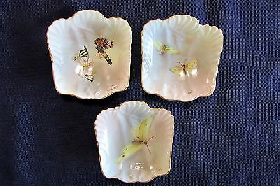 Lot 3 T&V Limoges Butterfly Butter Pats, Artist Signed