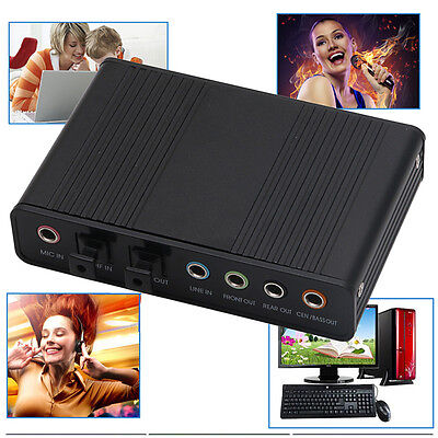 USB 5.1 Channel External Optical Audio Fiber Sound Card S/PDIF for Laptop PC