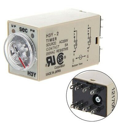 H3Y-2 H3Y Power Delay Time Temporizador Relay AC 220V DC 24V With Base 3 Types