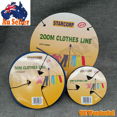 Clothesline 20M , 50M , 200M Pvc Coated Wire Core Clothes Line Replacement New