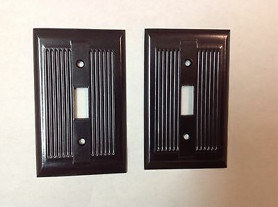 Set/2-Vintage Ridged Light Switch Cover Plates,, Art Deco, Brown
