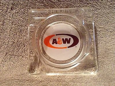 Vtg A & W Root Beer Advertising Glass Square Ash Tray