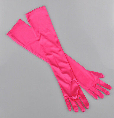 Women Bridal Prom Long Stretch Satin Evening Party Elbow-length Rose Red Gloves