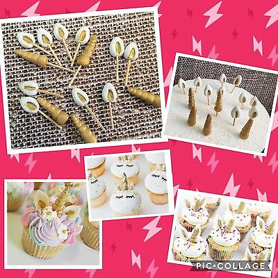 Unicorn Edible Unicorn Ear Horn cupcake topper/decoration 12 Sets Fondant