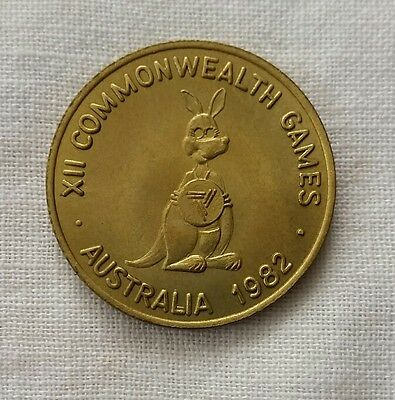 Brisbane Commonwealth Games 1982 Matilda double-headed medal in pouch