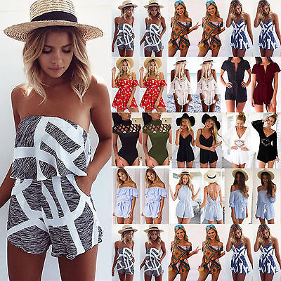Womens Summer Holiday Mini Playsuit Ladies Jumpsuit Beach Shorts Dress Size 6-16