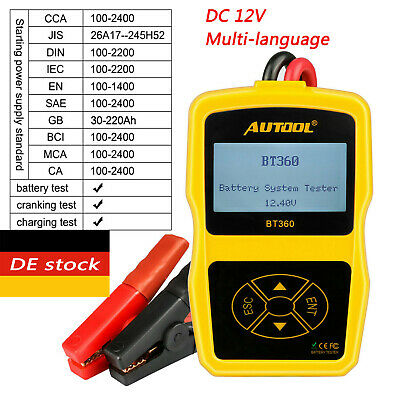 AUTOOL BT-360 Auto OBD2 AGM GEL 12V Batterietester Ladestation CCA 100-1400 Test