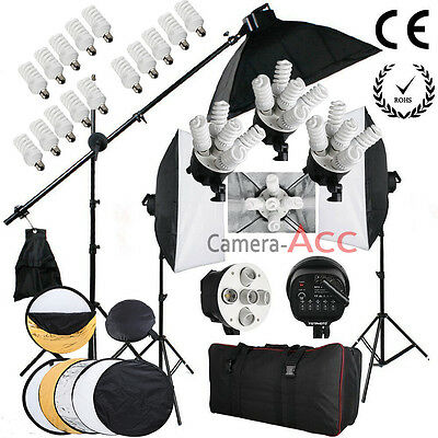 Pro Studio Photo 2850W Softbox Continuous Lighting Kit Reflectors Bulb/Boom arm