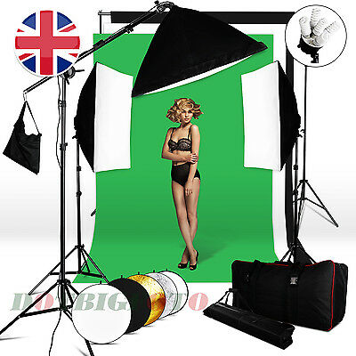 2850W Lighting Softbox Kit Reflector Boom arm Photo 3Colors Background Stand Set