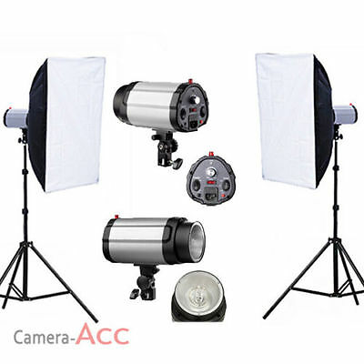 Pro Studio Flash Kit Lighting Kit Set Photo Trigger Strobe Head Light Earthed UK