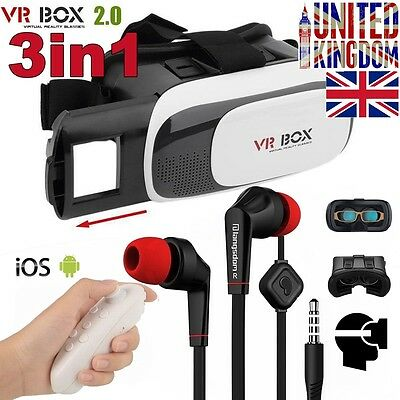 3in1 VR BOX 2.0 Virtual Reality Glasses 3D + Earphone for iPhone 7 Plus 6 6S SE