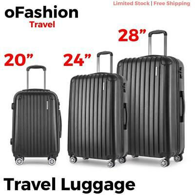 3pc Travel Luggage Suitcase Lock Hard Case Lightweight Carry On Trolley Black
