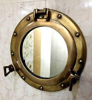 "11"" Mirror Porthole Antique Finish Wall Hanging Nautical Home Decor"