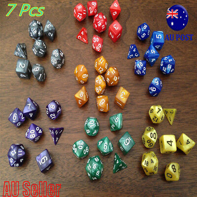 Pearl Multi Sided Twinkling Dice Set of 7 D4-D20 D&D RPG Game Roleplay Toy MN