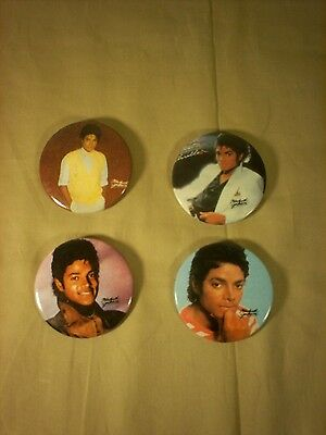 1980's Vintage Michael Jackson buttons pins Lot of 4 Thriller Billy Jean