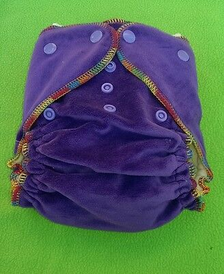 (1) New Bamboo Velour Fitted Cloth Diaper One Size Adjustable Nappy, Free Insert