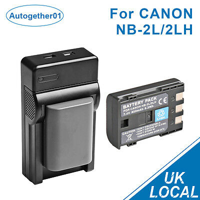 Battery + USB Charger  For Canon NB-2L 2LH EOS 350D 400D S30 40 S5 50 55 UK